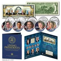LIVING PRESIDENTS U.S $2 Bill w/ 5-Coin Statehood Quarter Set LARGE 8x10... - $22.72