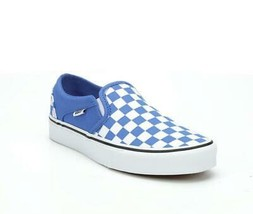VANS Asher Nebulas Blue White Checkerboard Squares Slip-on Shoes Wm's NWT - $59.99