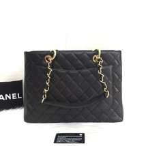 NEW AUTH CHANEL QUILTED CAVIAR GST GRAND SHOPPING TOTE BAG GOLD HW image 2
