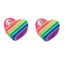 925 Sterling Silver Multi Colour Heart Studs Earrings Butterfly Fitting A&B - $6.54