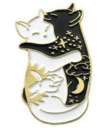 Black White Hugging Cat Enamel Brooch Pin - New - $12.99