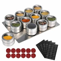 Magnetic Spice Jars With Wall Mounted Rack Stainless Steel Spice Tins Sp... - $4.01+