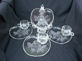 4 Sets of Vintage Hazel Atlas Apple Blossom Clear Glass Snack Sets 8 Pcs... - $19.99