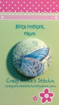 Purple Butterfly Needleminder fabric cross stitch needle accessory - $7.00