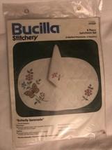 Vintage Bucilla Stitchery  Luncheon Set 4 Quilt PlaceMats 4 Napkins Butterfly - $55.74