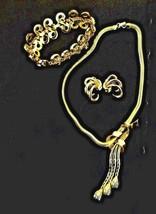 Vintage Trifari Gold Tone Choker, Bracelet, and Clip Earrings - $69.95