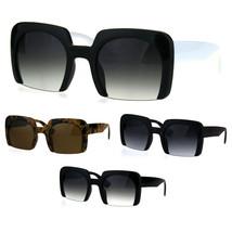 Womens Crop Bottom Exposed Lens Thick Rectangular Fashion Sunglasses - $13.32 CAD