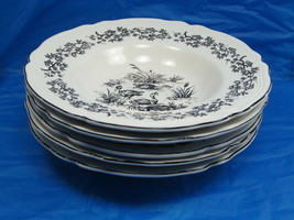 Tabletops Unlimited NEW ENGLAND TOILE BLACK Game Birds Rimmed Soup Bowl ... - $37.83