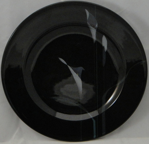 MIKASA GALLERIA OPUS BLACK DINNER SET W/SERVER 37 PC/8 FLORAL MADE IN JAPAN NEW