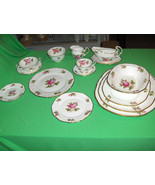 Vintage Rare 91 Pc Set Adderley Fine Bone China Carlton Pink Roses Engla... - $742.50