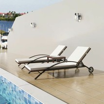 vidaXL Outdoor Sun Lounger Set Poly Rattan Wicker Brown Loungers Table G... - $273.99