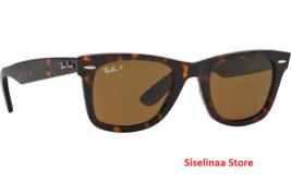 Ray Ban Brown Wayfarer 2140 902/57 Polarized Sunglasses Size 50mm New Au... - $134.59