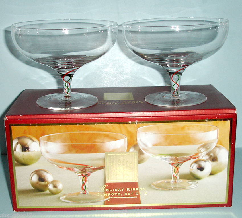Lenox Holiday Ribbon Footed Crystal Compote Dessert Bowl Set of 2 Glasses New