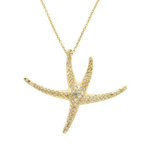 f9dd5dfe0aeba 12. 12. Previous. Tiffany & Co. 18K Gold Diamonds Large Starfish Elsa  Peretti Necklace 16