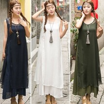 Fashion Summer Women Sleeveless Split Strap Retro Loose Maxi Dress Suit ... - $30.60