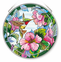 "Hummingbird Sun Catcher AMIA Hand Painted Glass 6.5"" Pretty in Pink Hibi... - €28,85 EUR"