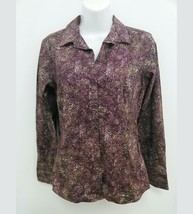 Eddie Bauer Womens Small Blouse Purple Green Long Sleeve Button Down  B265 - $5.99