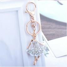Fashion crystal keychain dancing lady key ring bag pendant charm jewelry - $12.99