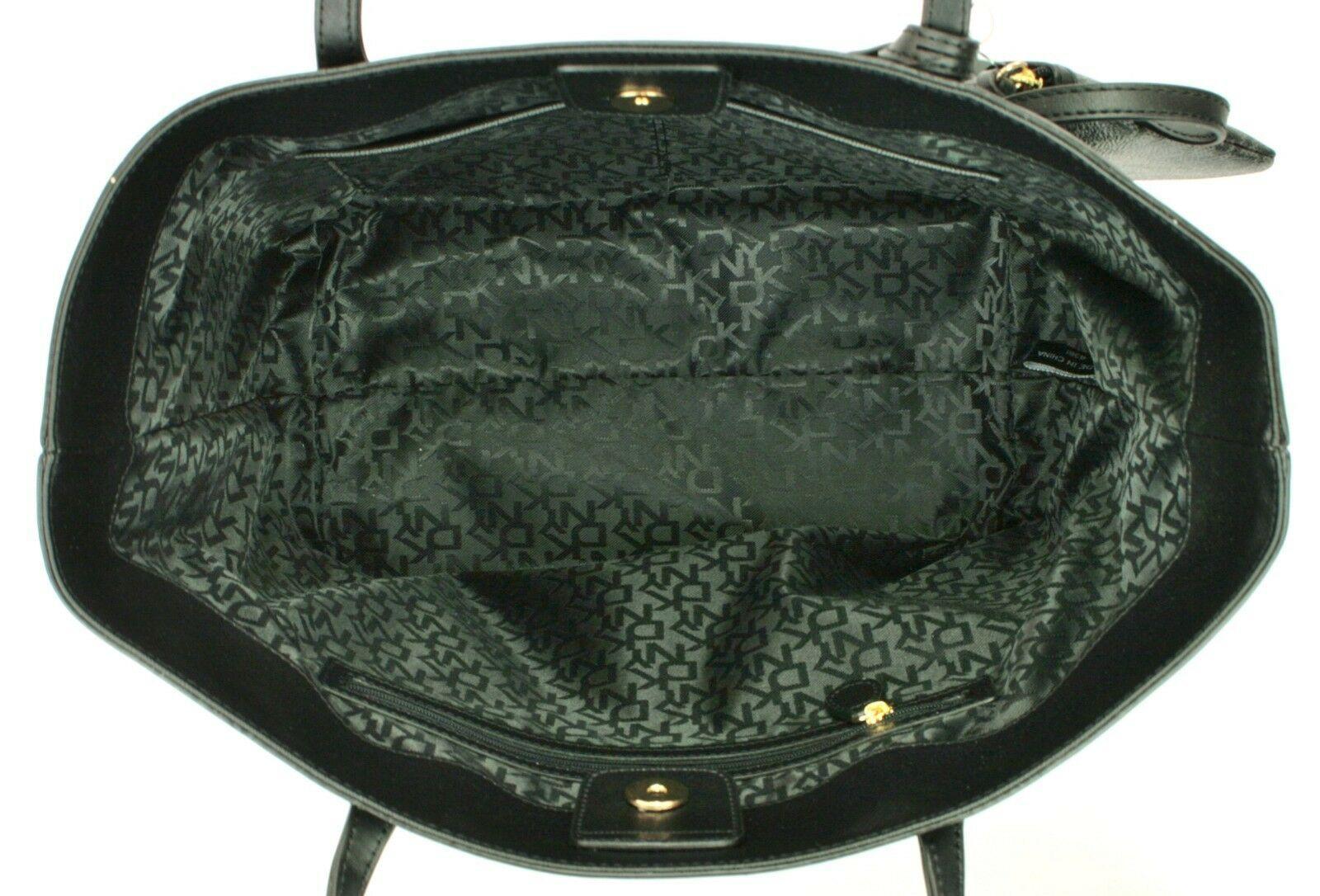 DKNY Donna Karan Heritage Coated Canvas Black Shopper Tote Bag Handbag