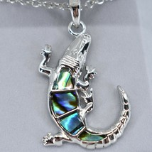Storrs Wild Pearle Abalone Shell Alligator Pendant w/ Silver Tone Necklace image 2