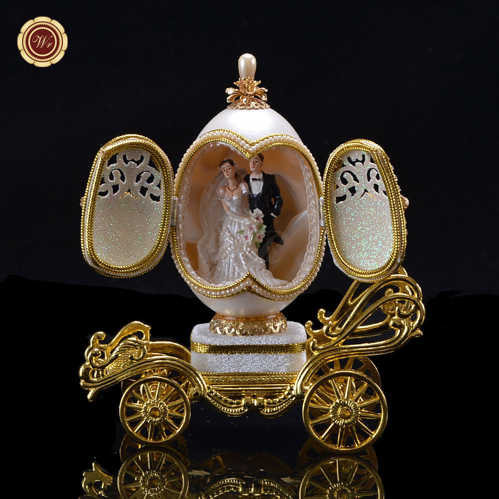 WR Carriage Hand Egg Carving Music Box Gold Wedding Gift Ideas for Friends 13cm for sale  USA