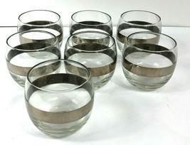 7 Silver Rim Mid Century Modern Glasses Roly Poly Barware Dorothy Thorpe... - $59.39
