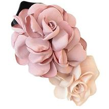 Mixed Colored Simulation Flower Rose Hair Clip Hairpin Headdress Flower(Pink)
