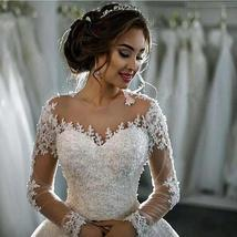 Wedding Dresses Long Sleeve Boat Neck Button Appliques Ribbon Ball Gown image 3