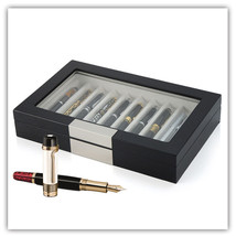 10 Pen slot Fountain Ebony Wood glass Display Case Organizer Storage Box... - €50,25 EUR