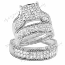 His and Her 3 Piece Matching Wedding Ring Set Huge 925 Silver Is A Thick... - $133.11