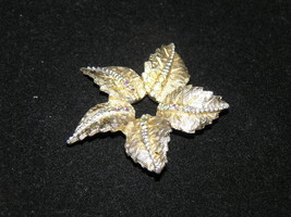 Vintage Small 5 Etched Leaves made into Star Shape w Tiny AB Rhinestone ... - $6.97