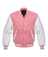 Varsity Letterman Jacket PINK Wool With WHITE Real Leather Sleeves - $87.99