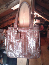 Liz Claiborne Brown Embossed Faux Croc Tote Shoulder Bag Purse Pre-Owned... - $35.00