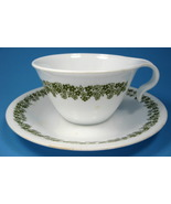 Retro Corelle Green Daisy Hook Handle Cup And Saucer Milk Glass Teacup - $8.00