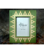 Green Crackle Wood and Yellow Tin Picture Frame 5x7 - $12.95