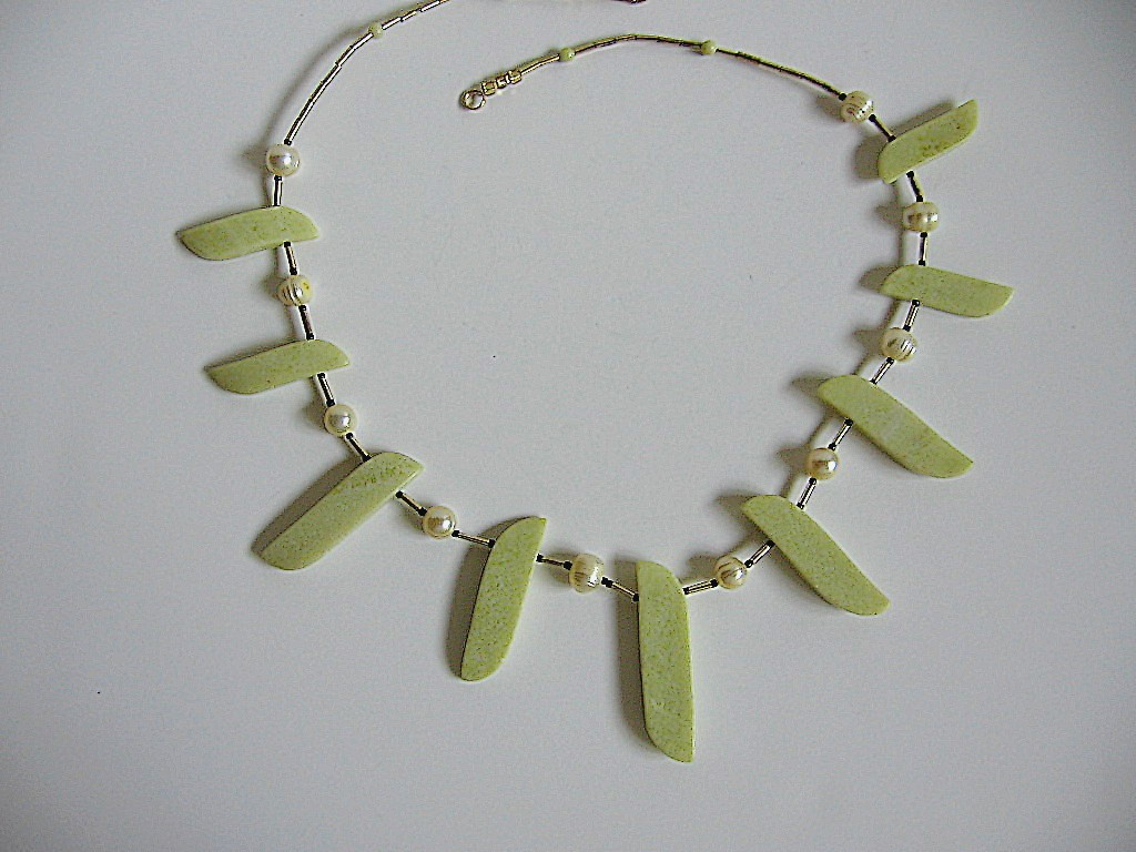 Chunky, Handcrafted Butter Jade & Pearl Necklace Bonanza