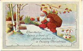 Christmas Good Wishes From Santa 1919 Vintage Post Card - $5.00
