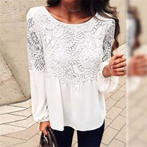 hirigin Fashion Women blouse solid white lace flower elegant Loose Casual Chiffo - $38.00