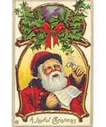 A Joyful Christmas Greeting From Santa vintage Post Card - $5.00