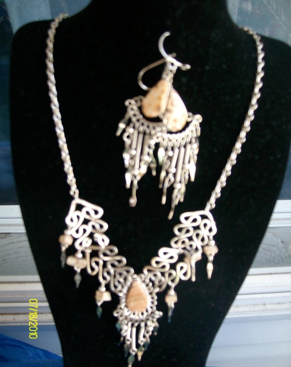 Alpaca  Necklace and Earring  Set  Pink  (E-1)  Bonanza