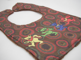 Reversible Baby Bib - Brown Tie Dye Grateful Dead Dancing Jerry Bears Print - $12.99