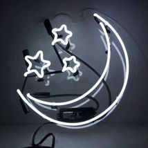 "New Moon Star Love Wall Decor Acrylic Back Neon Light Sign 14"" Fast Ship - $60.00"