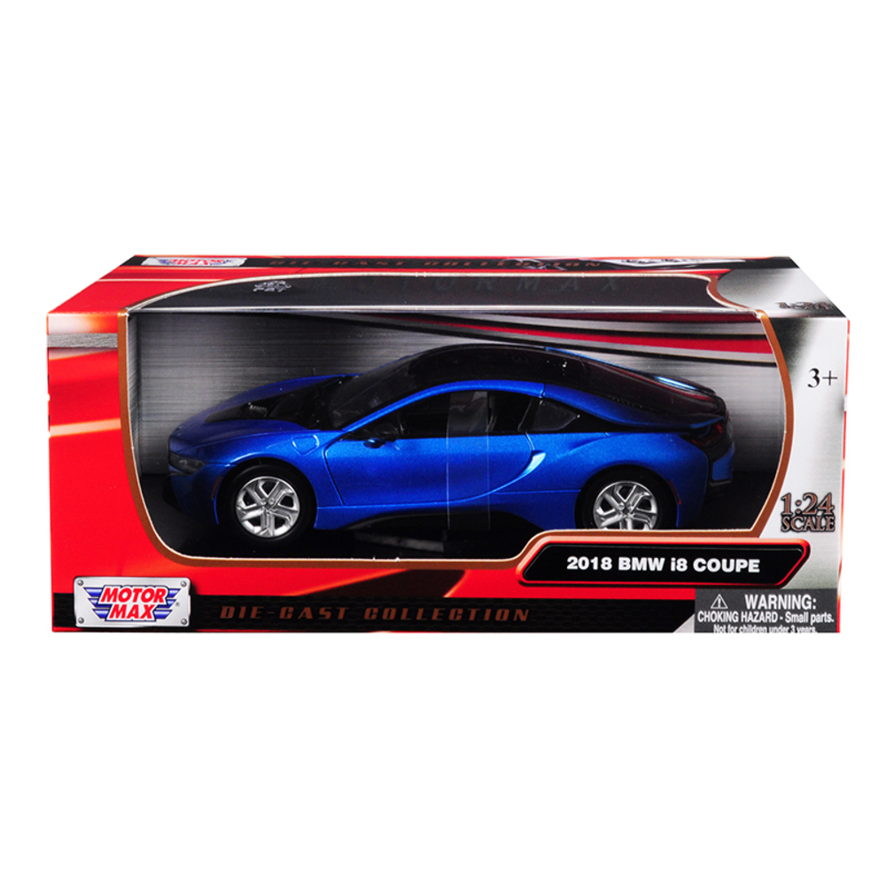 2018 BMW I8 Coupe Metallic Blue With Black Top 1/24