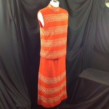 Vtg St John Knits Wiggle Groovy Hostess Sweater Dress Orange Gold Metall... - $163.35