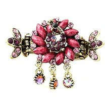 Retro Luxury Aulic Style Crystal Bronze Alloy Hair Claws, Peacock(Purple)