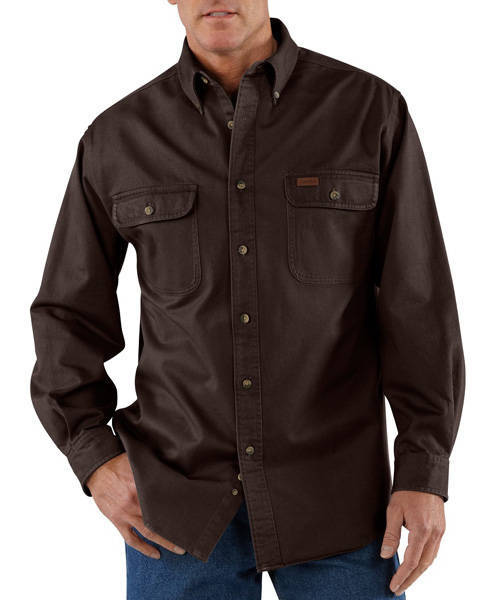 small regular NEW CARHARTT SANDSTONE TWILL WORK SHIRT STYLE S09 DK BROWN SIZE sm