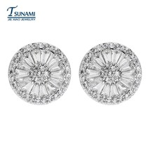 Top quality AAA zircon round earrings for female luxury jewelry gifts ER-082 - $10.13