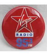 Pinback Button Virgin Radio 95.3 FM Music Logo Star Red White Blue Round... - $4.99