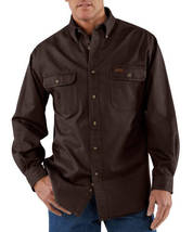 carhartt shirt large SANDSTONE TWILL WORK SHIRT STYLE S09 DK BROWN SIZE ... - $35.99