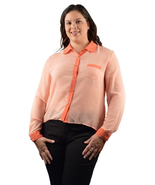 Plus Size long sleeve shirt with contrast collar - $14.99